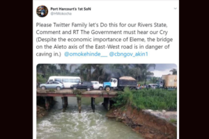 A Bridge Leading To NNPC Refinery In River State Is In Danger Of Collapsing (Photo)